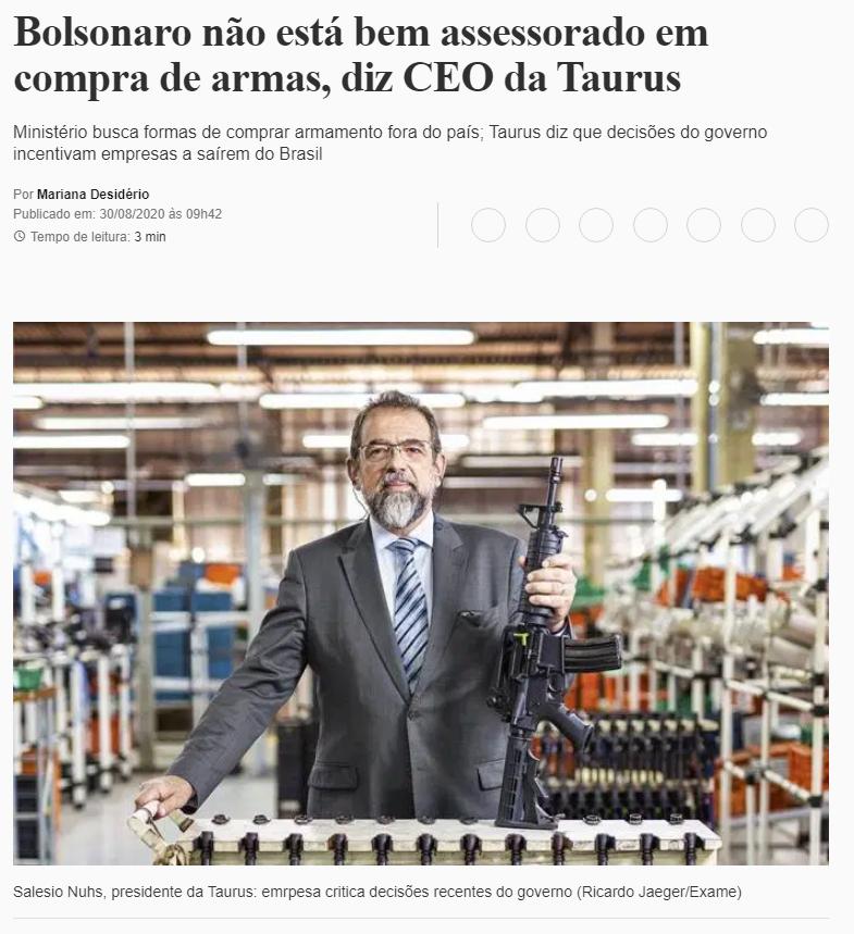 Bolsonaro não está bem assessorado em compra de armas, diz CEO da Taurus