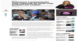 Bolsonaro é presenteado com capacete de moto com grafeno em Caxias